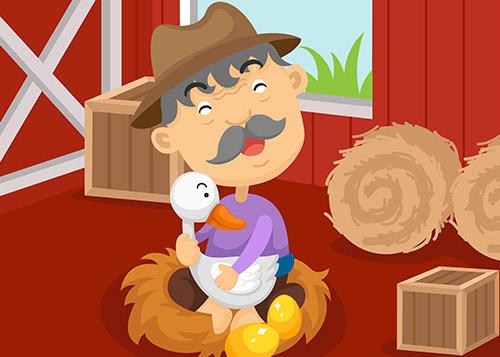 Farmer hugging a goose that lays golden eggs