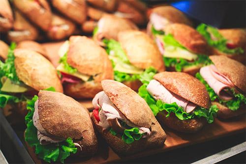Ham, lettuce, and tomato sandwich in wholewheat bread!
