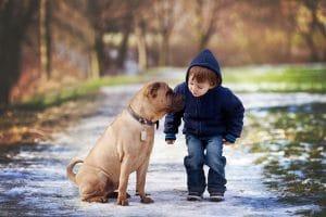 Adorable boy in winter attire giving his dog a kiss!