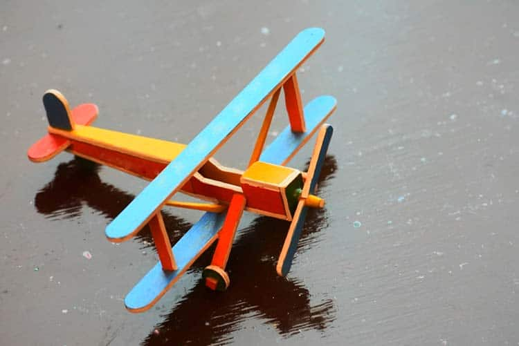 Handmade, DIY fighter plane made from popsicle sticks!