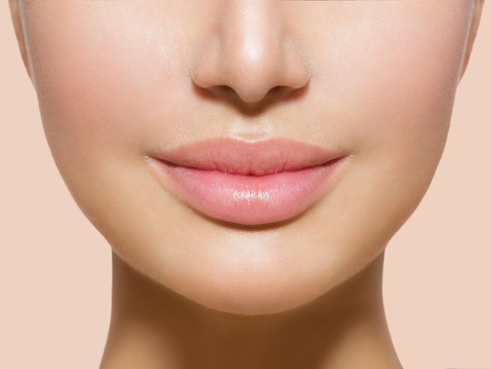 Pink moisturised lips