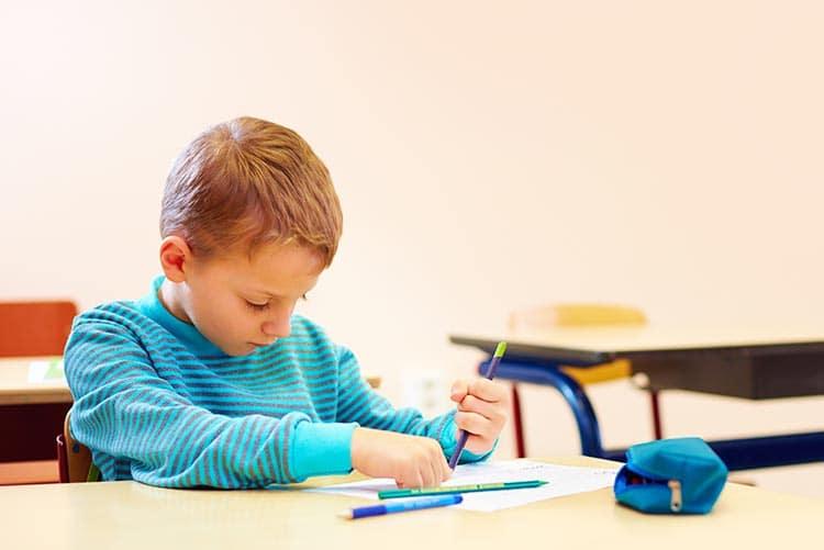 A boy working on an assignment.