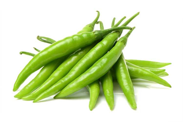 Fresh green chillies!