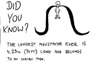 Fun vector image of a moustache fact.